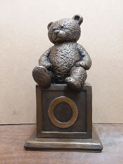 Bronze Teddy Bear On Block Statue